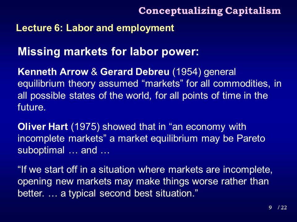 Missing markets for labor power: Under capitalism, markets are unavoidably incomplete … … under capitalism there can never be a complete set of markets for labor power.