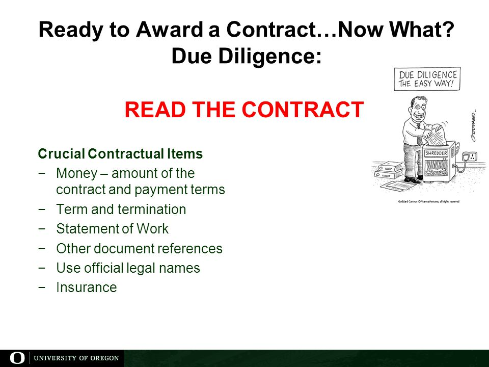 Ready to Award a Contract…Now What.