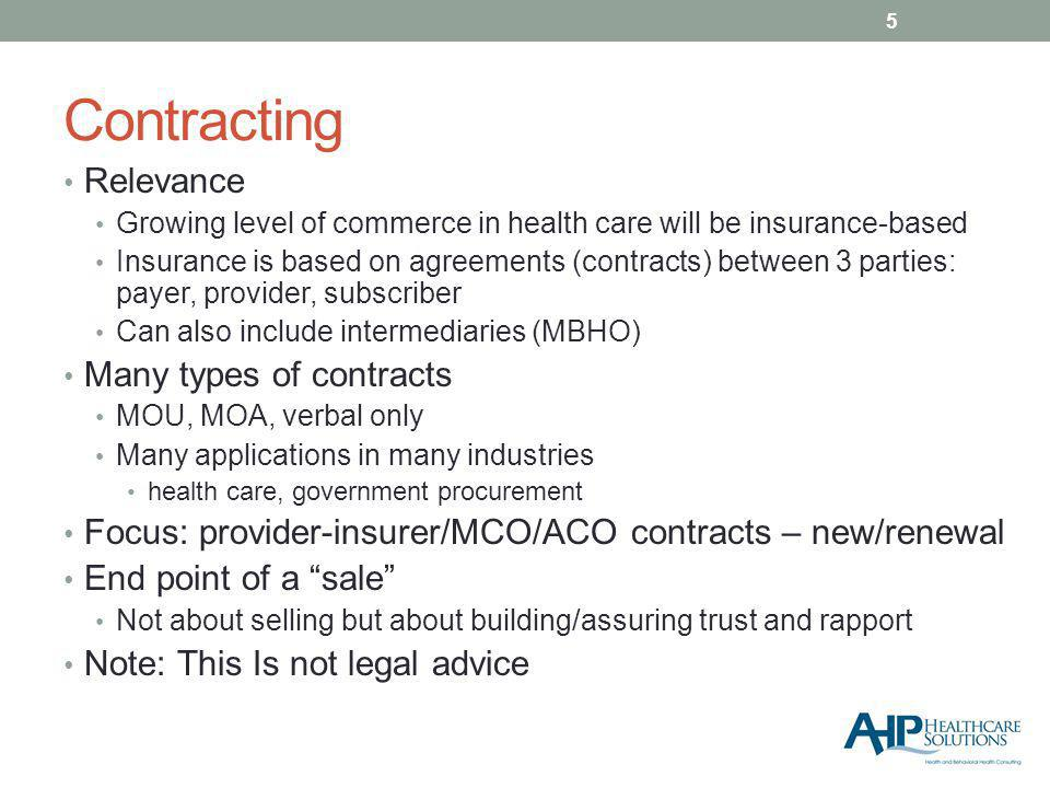 Contracting Relevance Growing level of commerce in health care will be insurance-based Insurance is based on agreements (contracts) between 3 parties: payer, provider, subscriber Can also include intermediaries (MBHO) Many types of contracts MOU, MOA, verbal only Many applications in many industries health care, government procurement Focus: provider-insurer/MCO/ACO contracts – new/renewal End point of a sale Not about selling but about building/assuring trust and rapport Note: This Is not legal advice 5