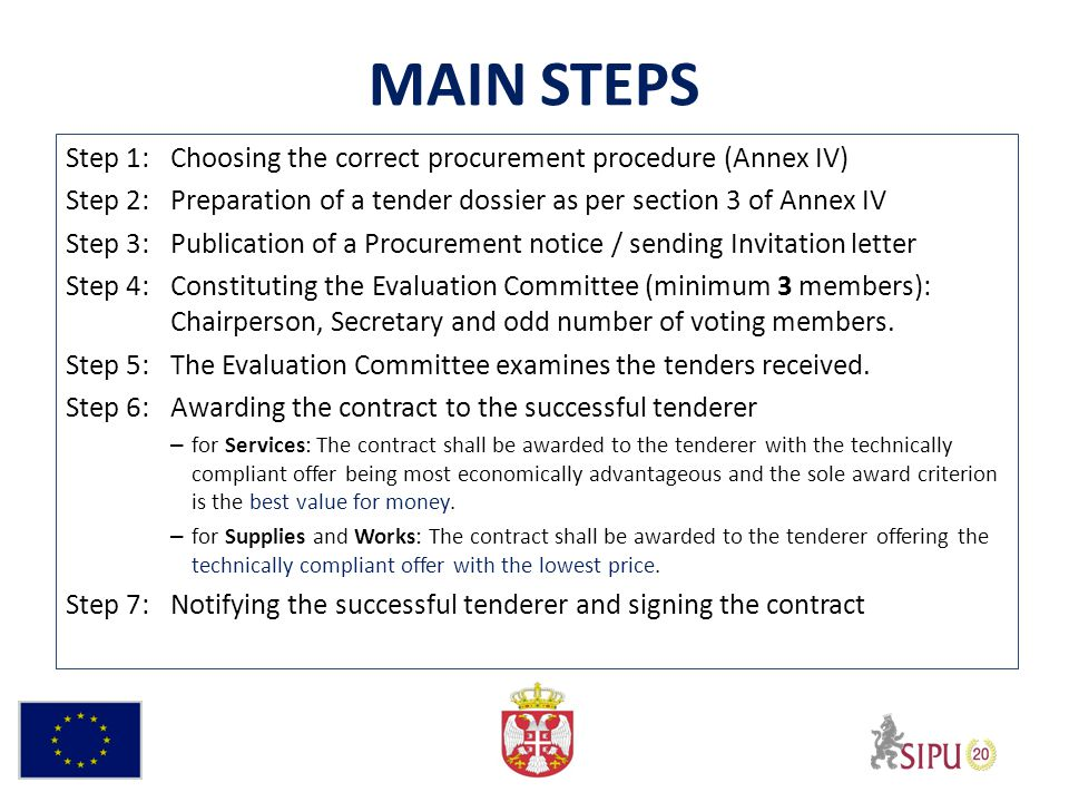 MAIN STEPS Step 1:Choosing the correct procurement procedure (Annex IV) Step 2:Preparation of a tender dossier as per section 3 of Annex IV Step 3:Publication of a Procurement notice / sending Invitation letter Step 4:Constituting the Evaluation Committee (minimum 3 members): Chairperson, Secretary and odd number of voting members.