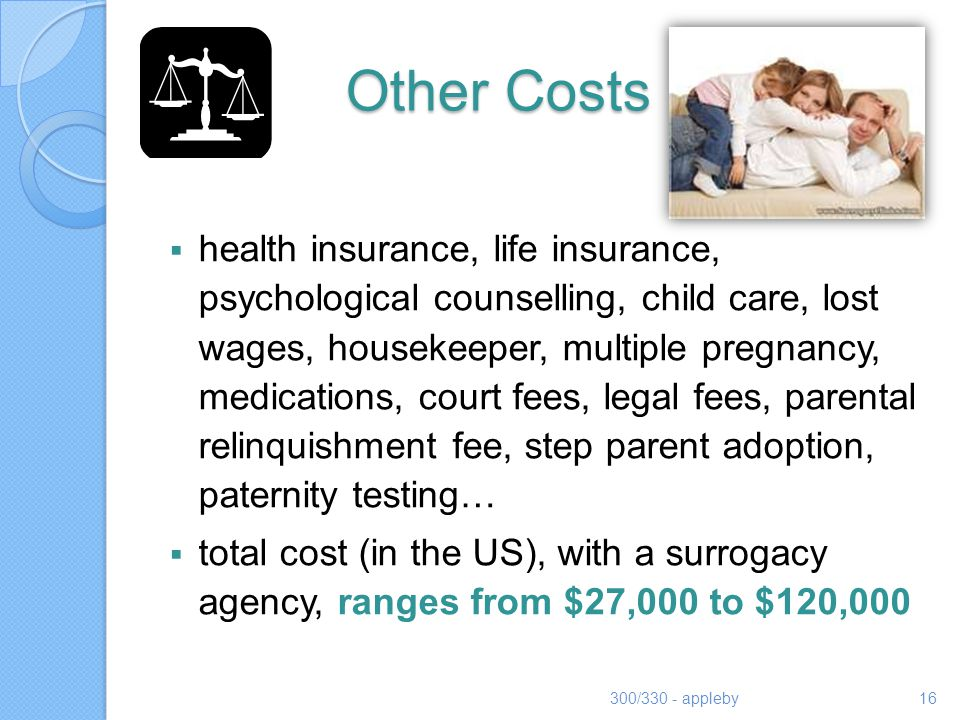 Other Costs health insurance, life insurance, psychological counselling, child care, lost wages, housekeeper, multiple pregnancy, medications, court f