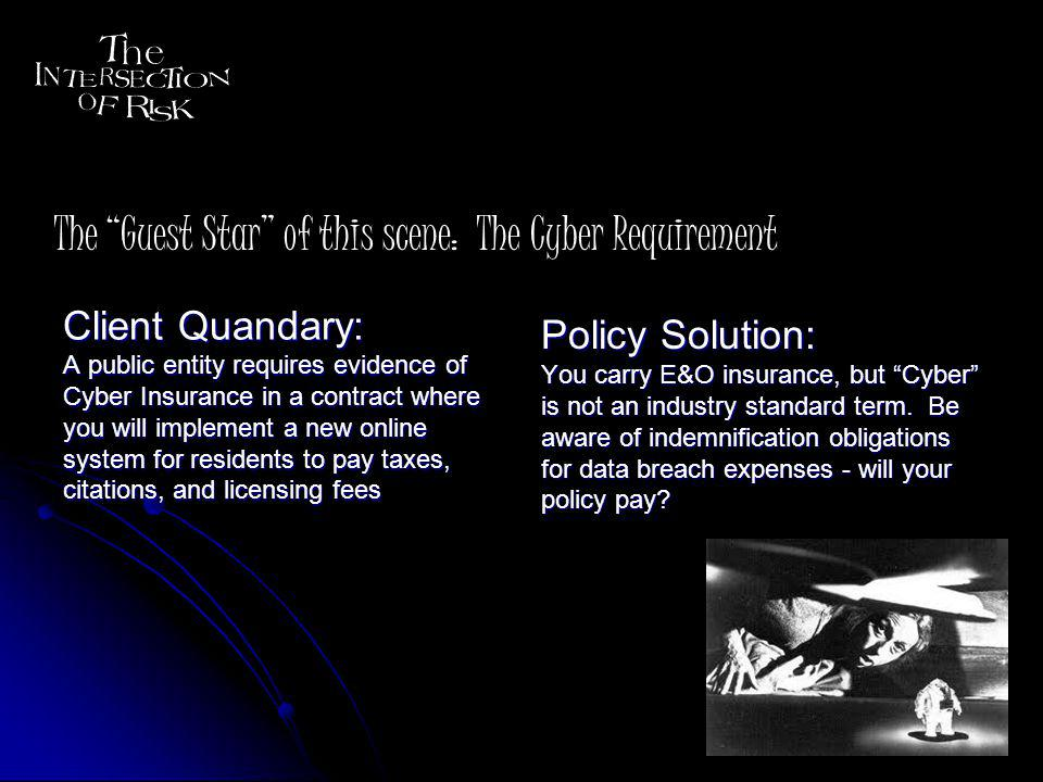 Client Quandary: Handset manufacturer requires that you accept $50MM in liability for failures of your chip as well as any resultant recall costs they incur Handset manufacturer requires that you accept $50MM in liability for failures of your chip as well as any resultant recall costs they incur You dont purchase any type of recall policy You dont purchase any type of recall policy Policy Solution: E&O coverage for your technology services and products, with an additional coverage grant for third party recall costs The Guest Star of this scene: Handset Manufacturers Conundrum