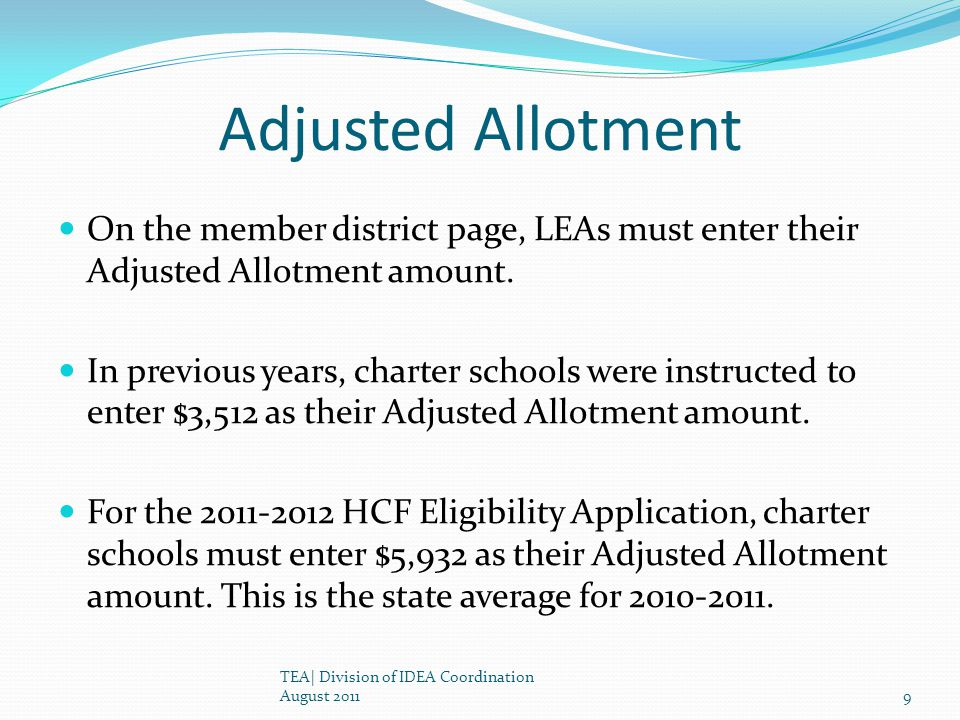 Adjusted Allotment On the member district page, LEAs must enter their Adjusted Allotment amount.