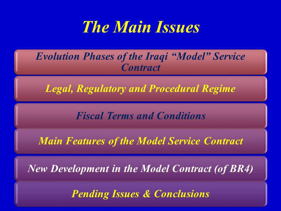 The Main Issues Evolution Phases of the Iraqi Model Service Contract Legal, Regulatory and Procedural RegimeFiscal Terms and ConditionsMain Features of the Model Service ContractNew Development in the Model Contract (of BR4)Pending Issues & Conclusions