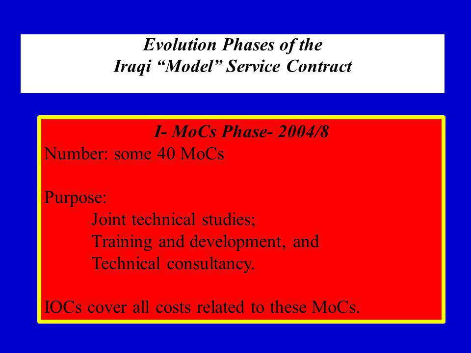 Evolution Phases of the Iraqi Model Service Contract I- MoCs Phase- 2004/8 Number: some 40 MoCs Purpose: Joint technical studies; Training and development, and Technical consultancy.