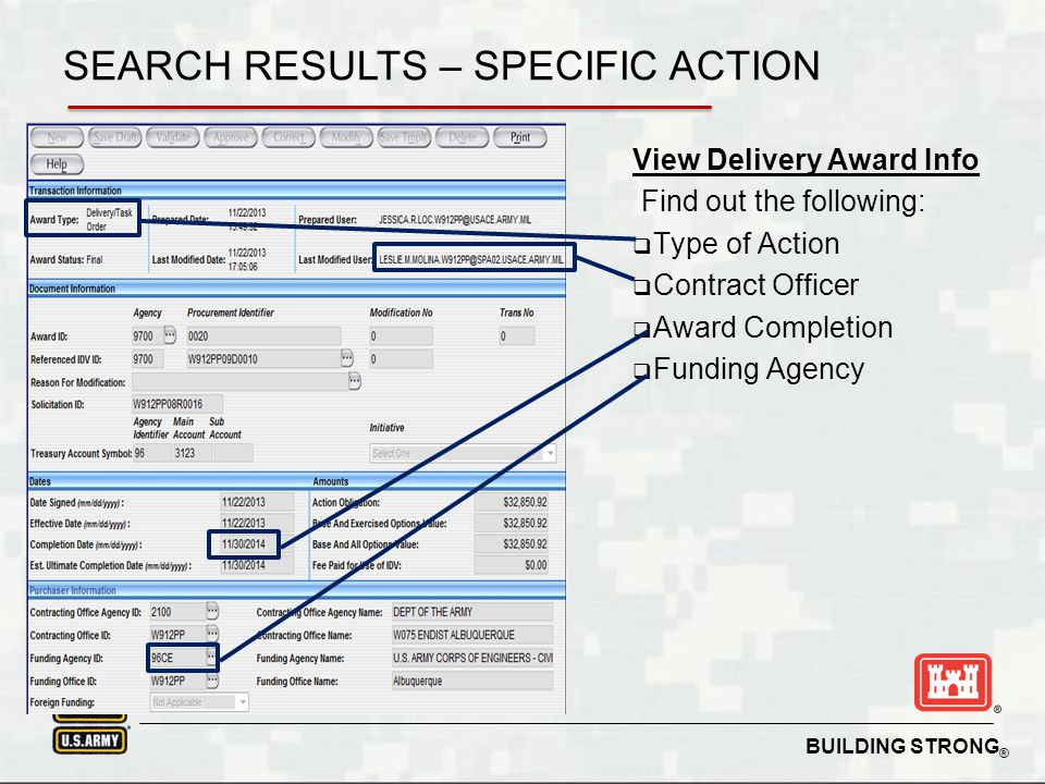 BUILDING STRONG ® Search Keywords Export Function Top 10 Vendors Ability to refine results and sort SEARCH RESULTS