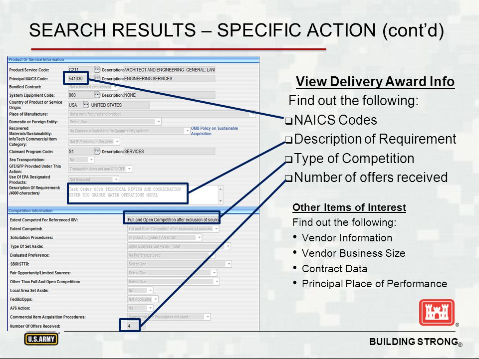 BUILDING STRONG ® View Delivery Award Info Find out the following: Type of Action Contract Officer Award Completion Funding Agency SEARCH RESULTS – SPECIFIC ACTION