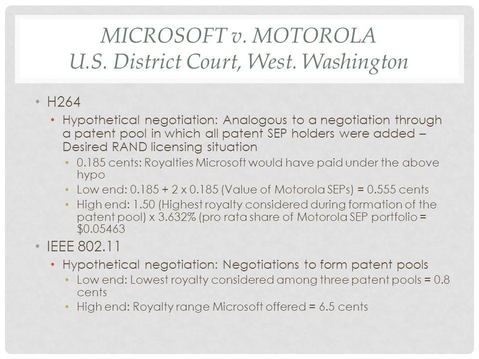 MICROSOFT v.MOTOROLA U.S. District Court, West.