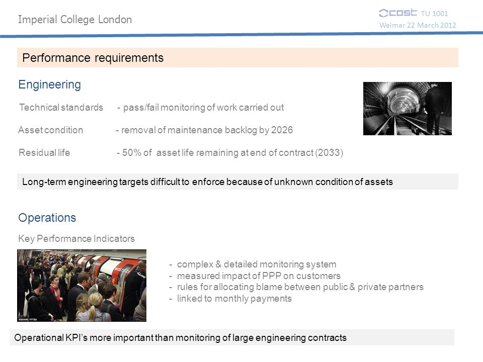 Imperial College London TU 1001 Weimar 22 March 2012 Performance requirements Technical standards - pass/fail monitoring of work carried out Asset con