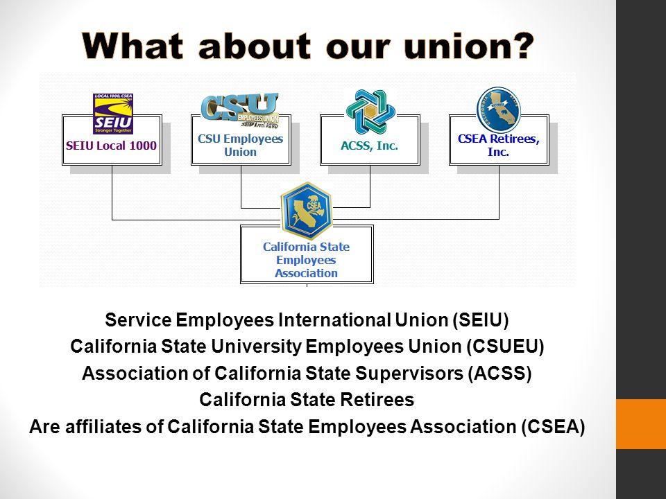 Service Employees International Union (SEIU) California State University Employees Union (CSUEU) Association of California State Supervisors (ACSS) California State Retirees Are affiliates of California State Employees Association (CSEA)