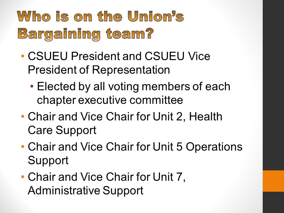 Chair and Vice Chair for Unit 9, Technical Support Every three years, members from each chapter elect one bargaining unit representative from each of the four units.