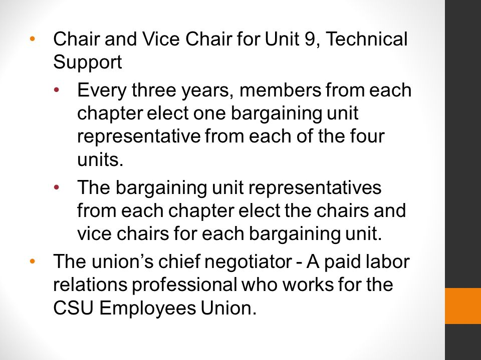 The Bargaining Councils for Unit 2, 5, 7, and 9 prepare bargaining proposals and handle the statewide interests of each bargaining unit.