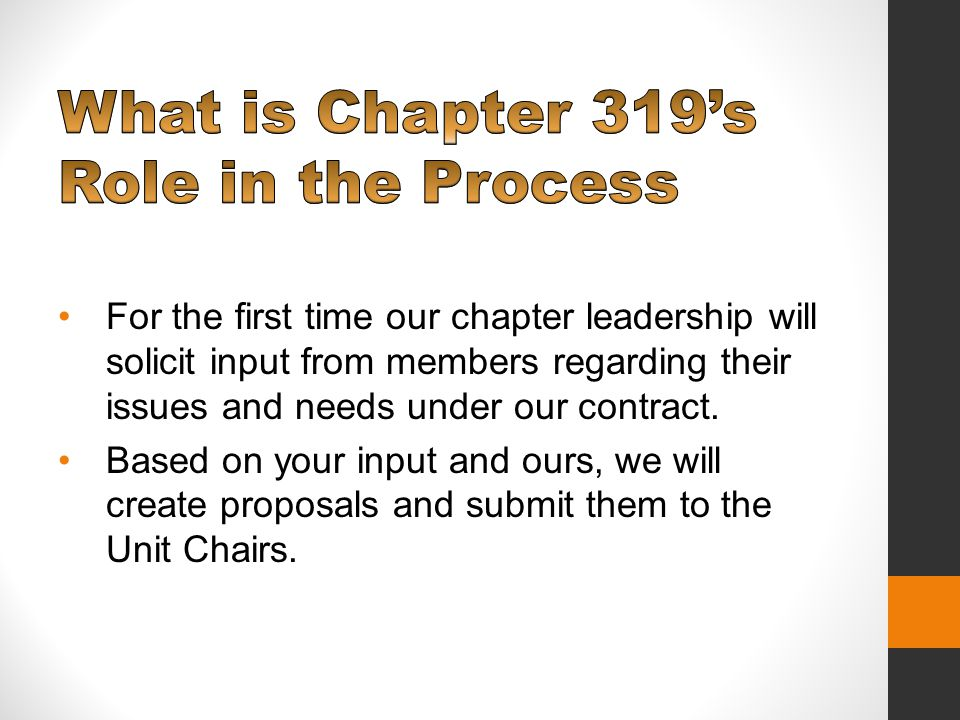 For the first time our chapter leadership will solicit input from members regarding their issues and needs under our contract.