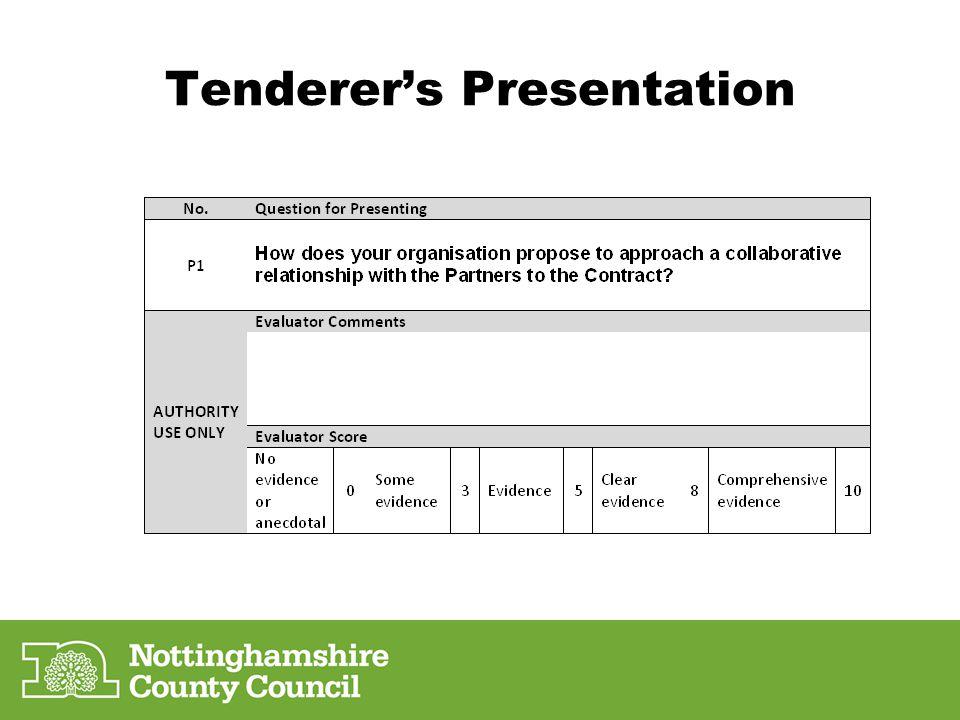 Tenderers Presentation