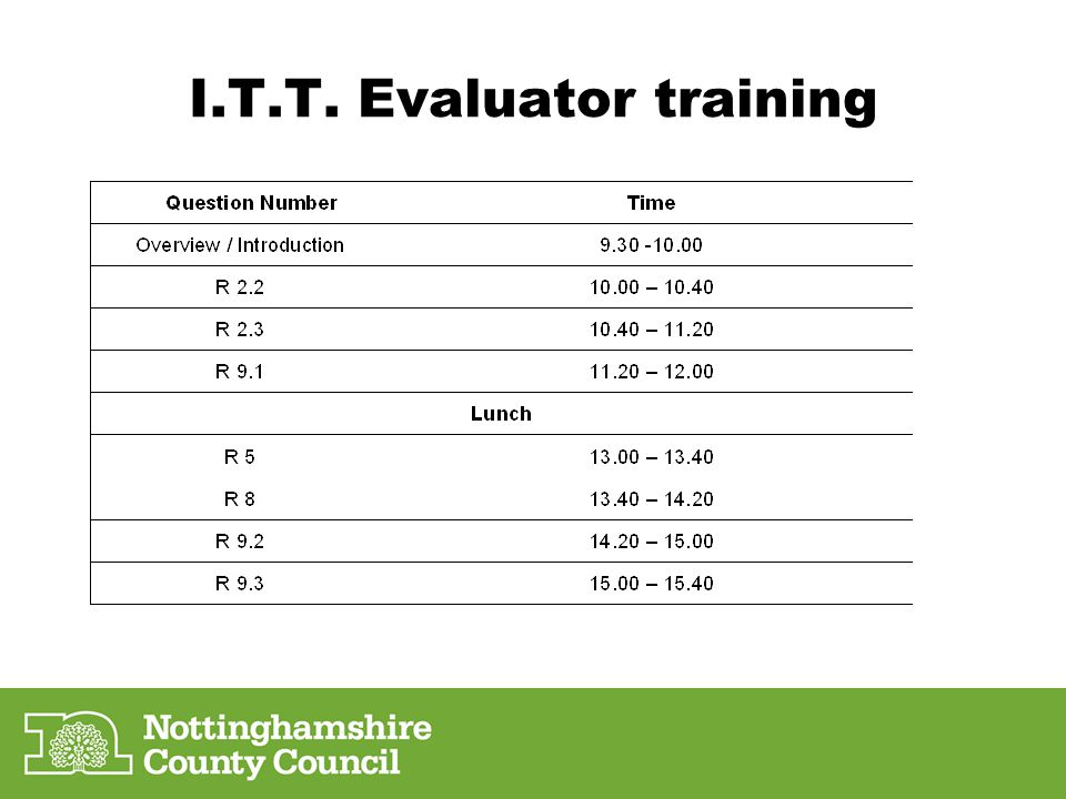 I.T.T. Evaluator training