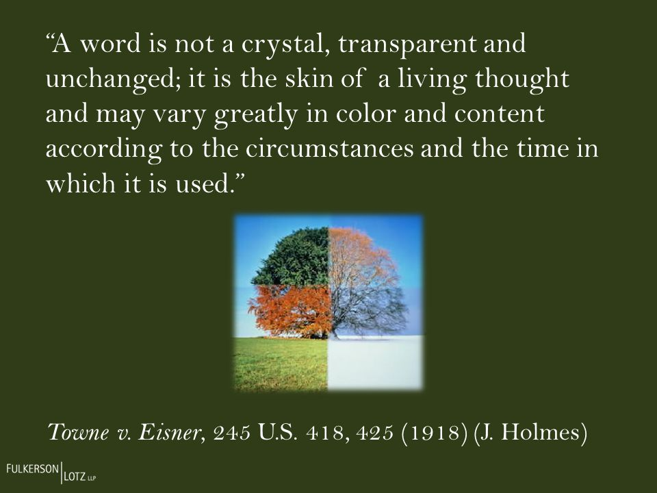 A word is not a crystal, transparent and unchanged; it is the skin of a living thought and may vary greatly in color and content according to the circumstances and the time in which it is used.