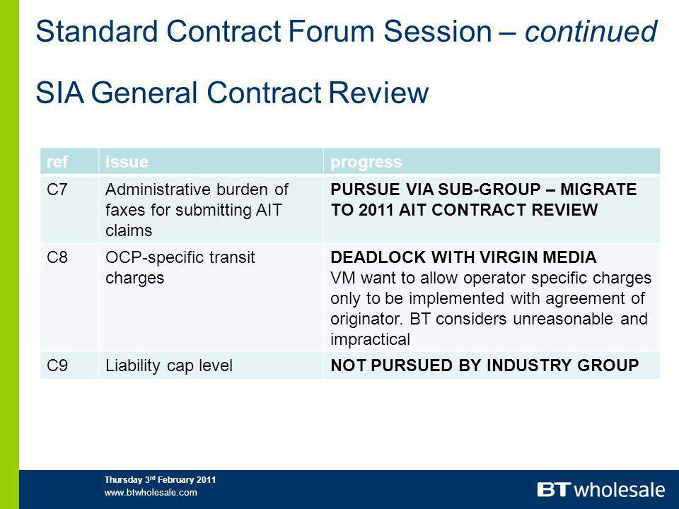 Standard Contract Forum Session – continued SIA General Contract Review refissueprogress C7Administrative burden of faxes for submitting AIT claims PURSUE VIA SUB-GROUP – MIGRATE TO 2011 AIT CONTRACT REVIEW C8OCP-specific transit charges DEADLOCK WITH VIRGIN MEDIA VM want to allow operator specific charges only to be implemented with agreement of originator.