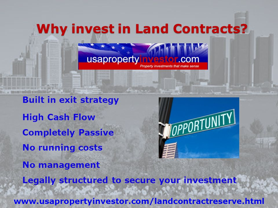 Land Contract vs. Owning property One main differences between owning a Land contract vs. Owning a rental. 1.Investing in a land contract, all your in