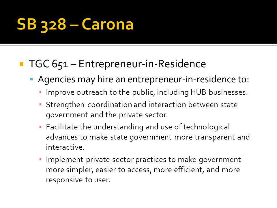 TGC 651 – Entrepreneur-in-Residence Agencies may hire an entrepreneur-in-residence to: Improve outreach to the public, including HUB businesses.