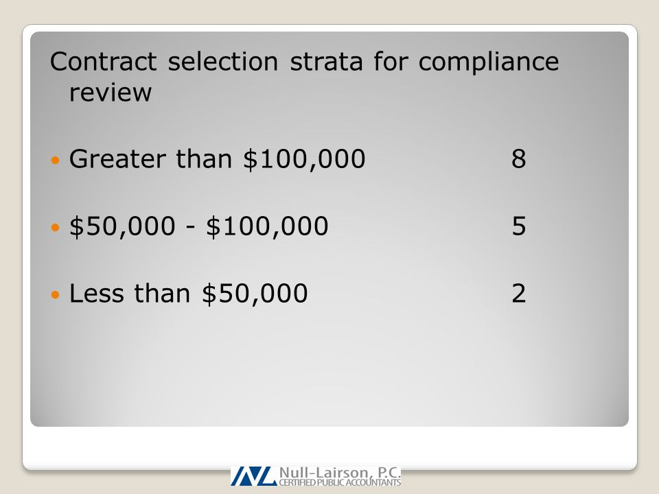 Contract selection strata for compliance review Greater than $100,0008 $50,000 - $100,0005 Less than $50,0002