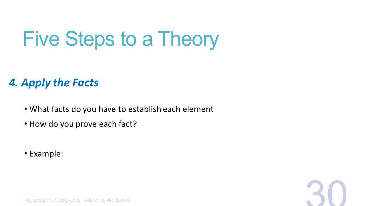 Five Steps to a Theory What facts do you have to establish each element How do you prove each fact? Example: 4. Apply the Facts FALL 2013 IEA HE CONFE