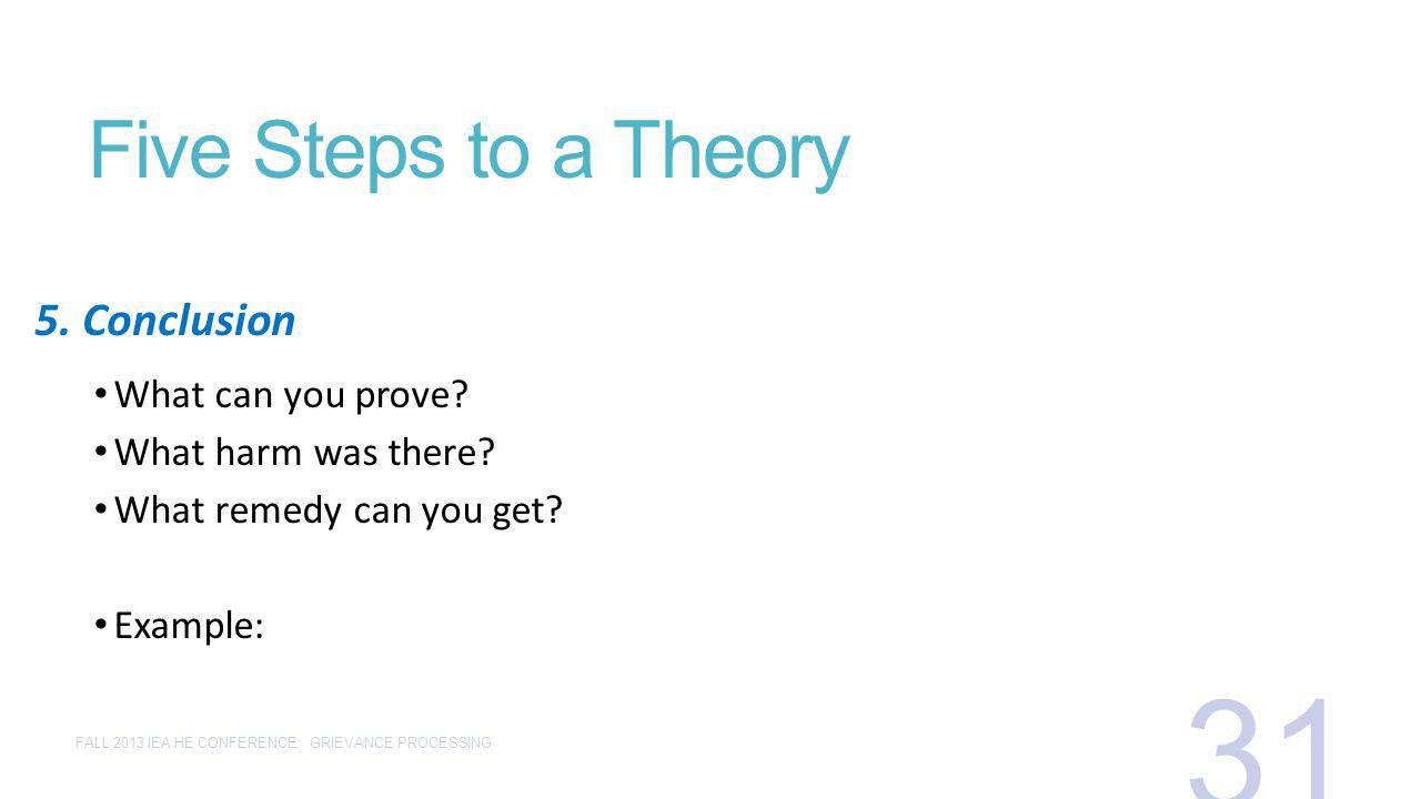 Five Steps to a Theory What can you prove? What harm was there? What remedy can you get? Example: 5. Conclusion FALL 2013 IEA HE CONFERENCE: GRIEVANCE
