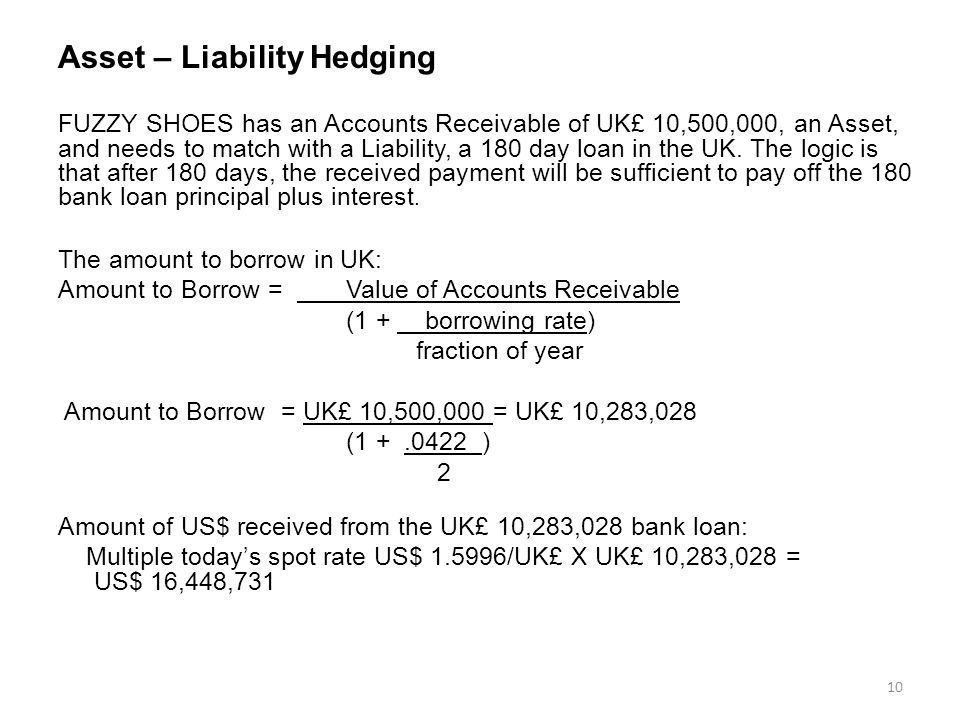 Asset – Liability Hedging FUZZY SHOES has an Accounts Receivable of UK£ 10,500,000, an Asset, and needs to match with a Liability, a 180 day loan in the UK.