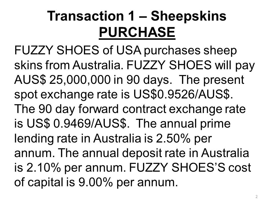 Transaction 1 – Sheepskins PURCHASE FUZZY SHOES of USA purchases sheep skins from Australia.