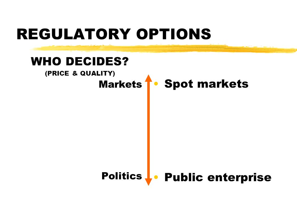 REGULATORY OPTIONS WHO DECIDES (PRICE & QUALITY) Markets Politics Spot markets Public enterprise