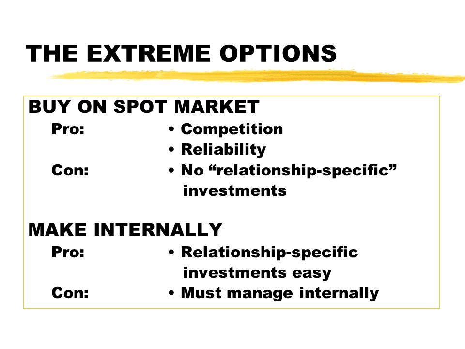 THE EXTREME OPTIONS BUY ON SPOT MARKET Pro: Competition Reliability Con: No relationship-specific investments MAKE INTERNALLY Pro: Relationship-specific investments easy Con: Must manage internally