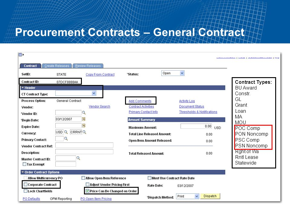 Procurement Contracts – General Contract Contract Types: BU Award Constr.