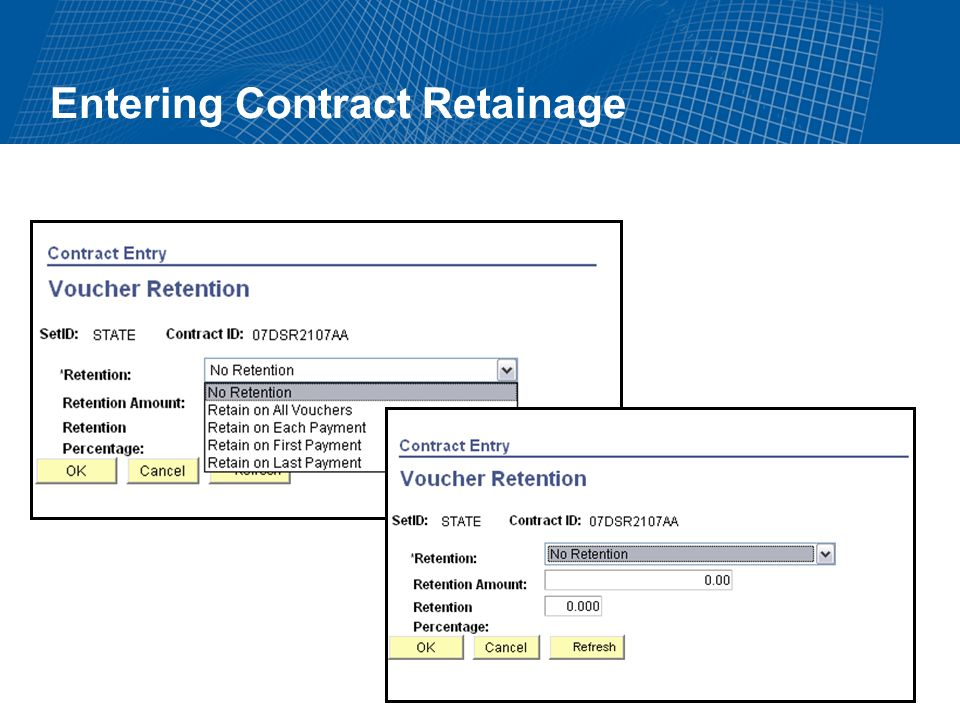 Entering Contract Retainage