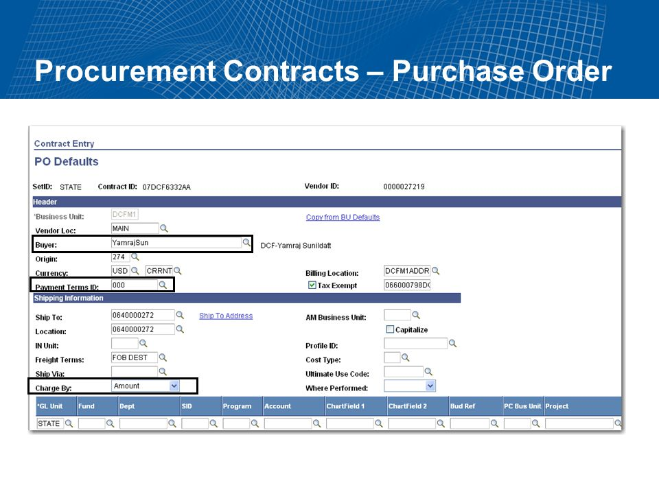 Procurement Contracts – Purchase Order