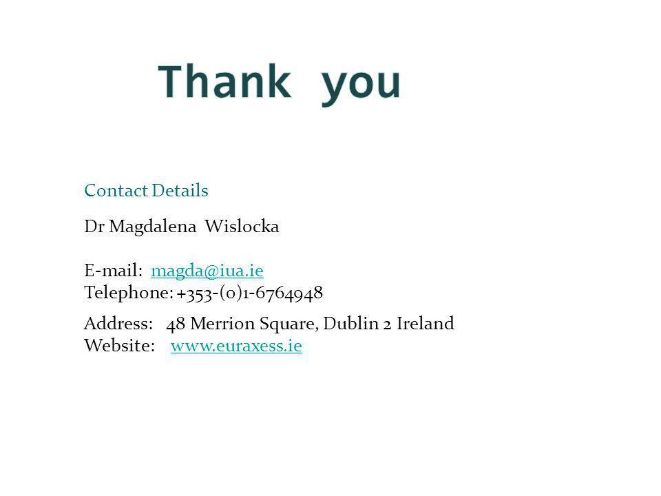 Dr Magdalena Wislocka E-mail: magda@iua.iemagda@iua.ie Telephone: +353-(0)1-6764948 Address: 48 Merrion Square, Dublin 2 Ireland Website: www.euraxess.iewww.euraxess.ie Contact Details