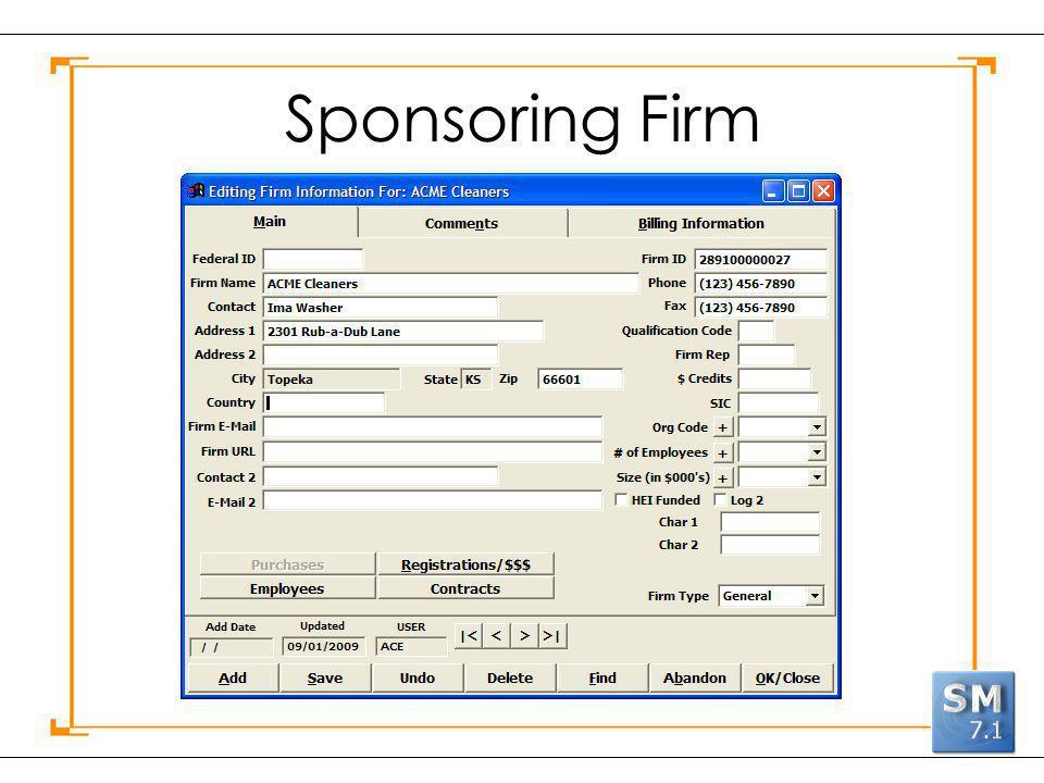 Sponsoring Firm