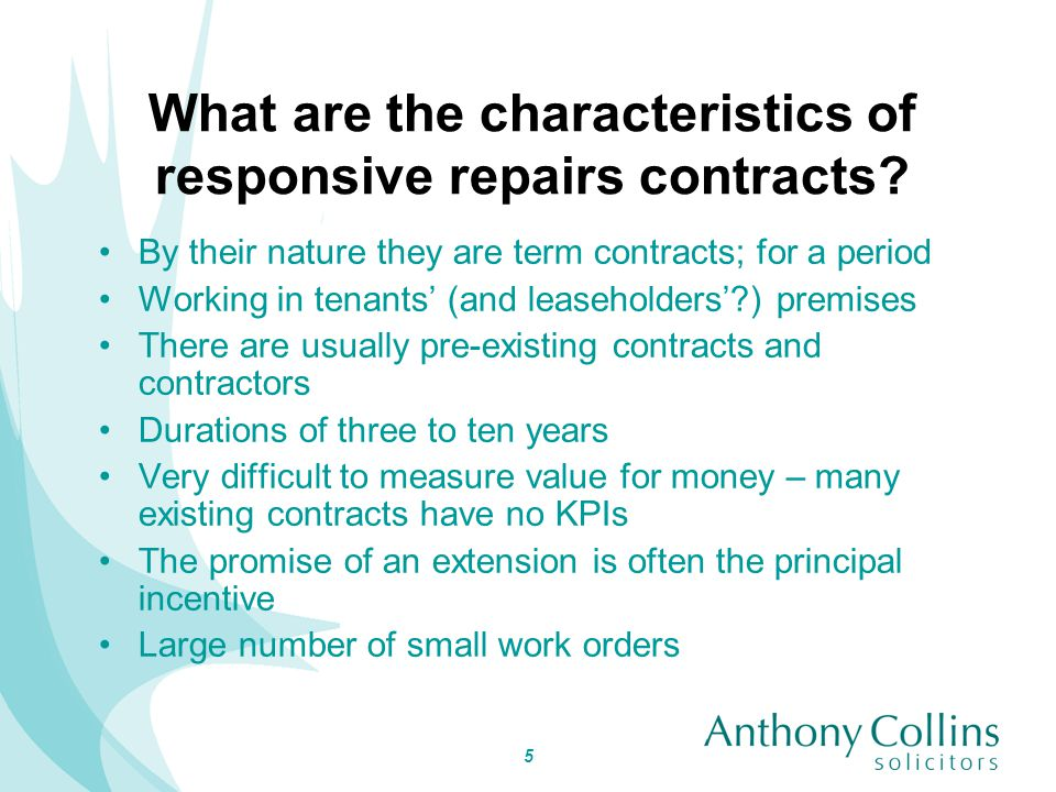 6 What are the characteristics of planned maintenance contracts.