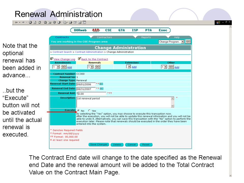 Renewal Administration Note that the optional renewal has been added in advance.....but the Execute button will not be activated until the actual renewal is executed.