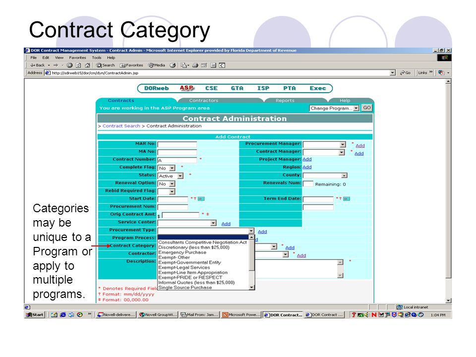 Contract Category Categories may be unique to a Program or apply to multiple programs.