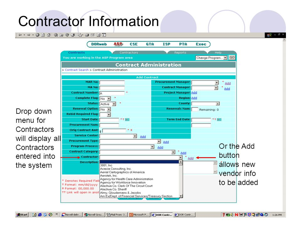 Existing Contract Administration Screen Contract changes are made through the Changes tab.