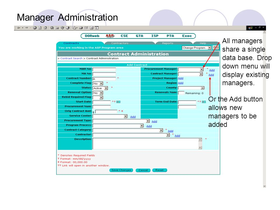 Amendment Administration Clicking the link will display the specifics of the contract change item selected.
