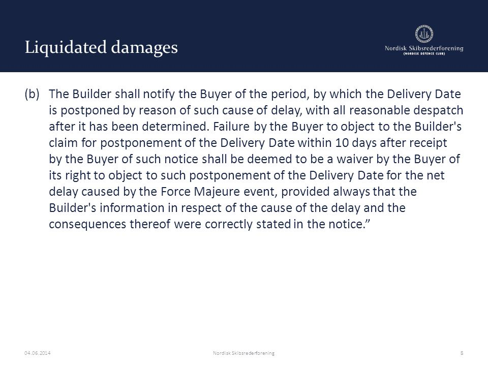 Yards refusal to build/delivery – Black mailing tactics Buyers may argue that wilful misconduct and/or intentional breach by the yard has the effect that such limitations of liability cannot be relied upon Newbuildcon Clause 37(e)Mutual exclusion Clauses (e) Liability following termination In the event of termination in accordance with the provisions of Clause 39 (Suspension and Termination), neither Party shall have any liability to the other whatsoever or howsoever arising, except as expressly provided in that Clause.