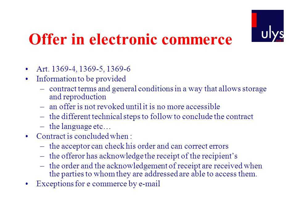 Offer in electronic commerce Art.