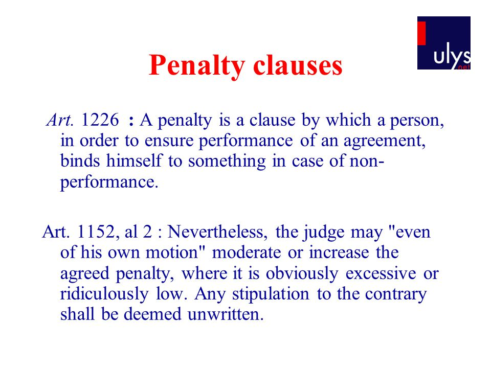 Penalty clauses Art.