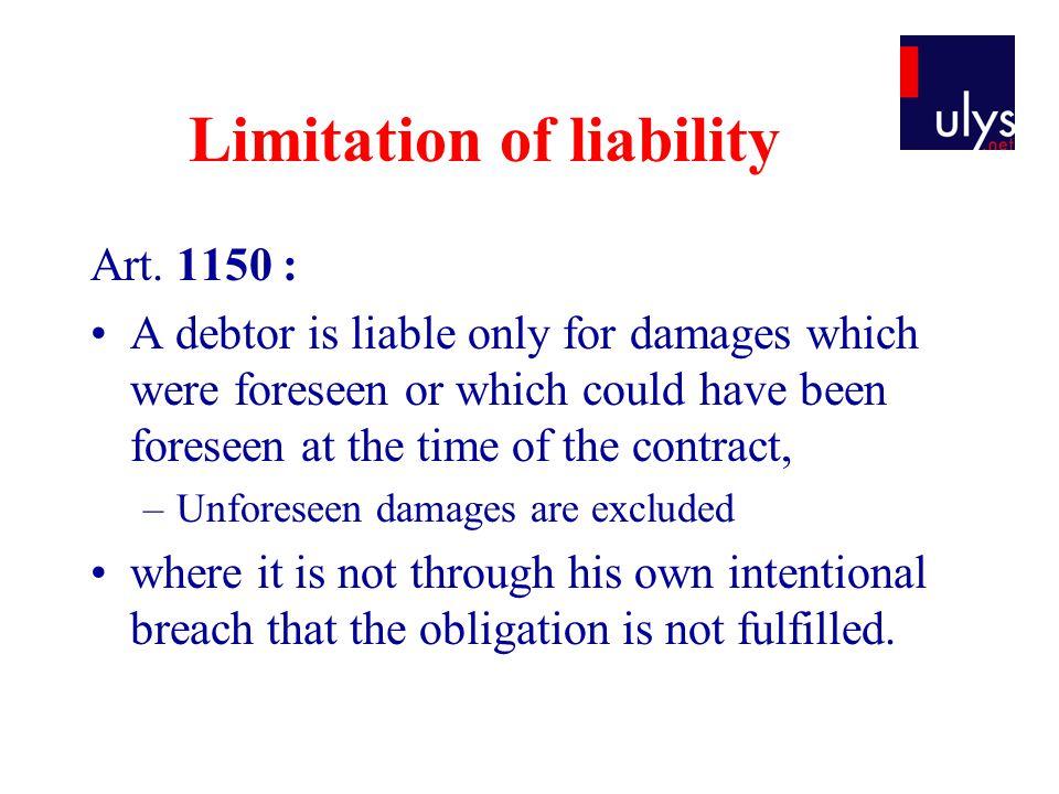 Limitation of liability Art.