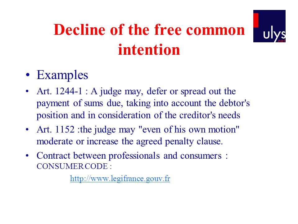 Decline of the free common intention Examples Art.