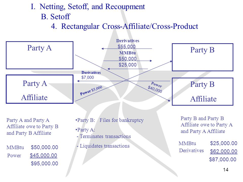 14 Derivatives MMBtu $50,000 $25,000 Party B:Files for bankruptcy Party A: - Terminates transactions - Liquidates transactions Party A Party B Affiliate $55,000 Power $40,000 Party B and Party B Affiliate owe to Party A and Party A Affiliate Party A and Party A Affiliate owe to Party B and Party B Affiliate MMBtu $50,000.00 Power $45,000.00 $95,000.00 MMBtu $25,000.00 Derivatives $62,000.00 $87,000.00 Party A Affiliate Power $5,000 Derivatives $7,000 I.