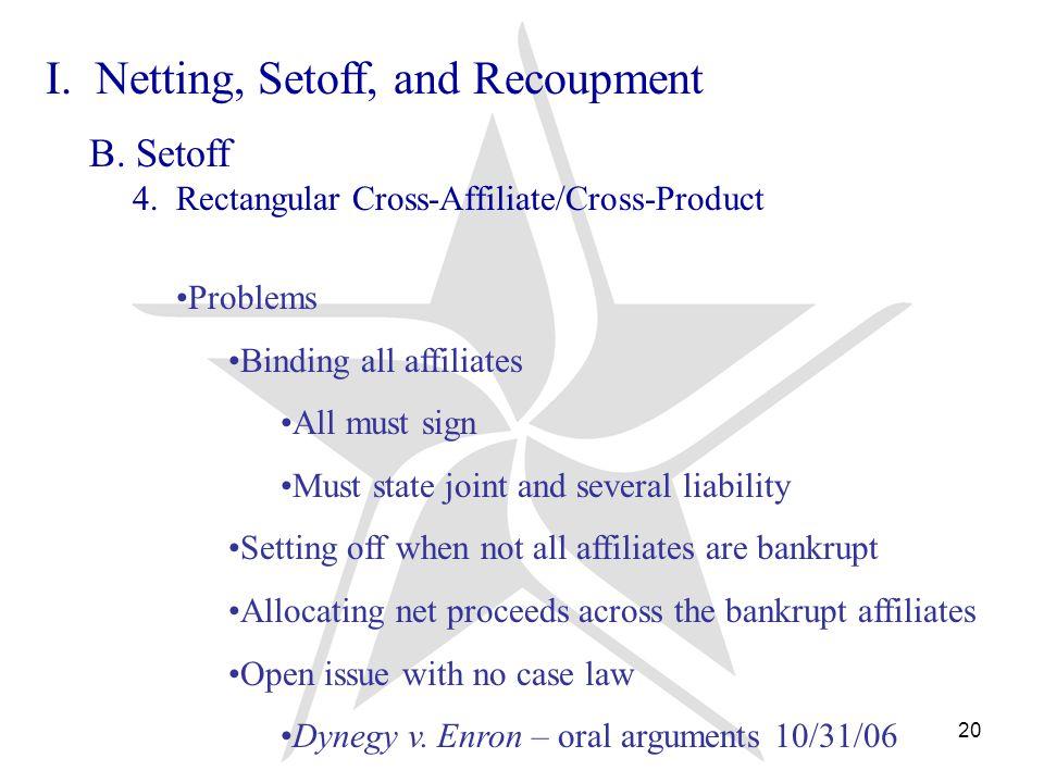 20 I. Netting, Setoff, and Recoupment B. Setoff 4.