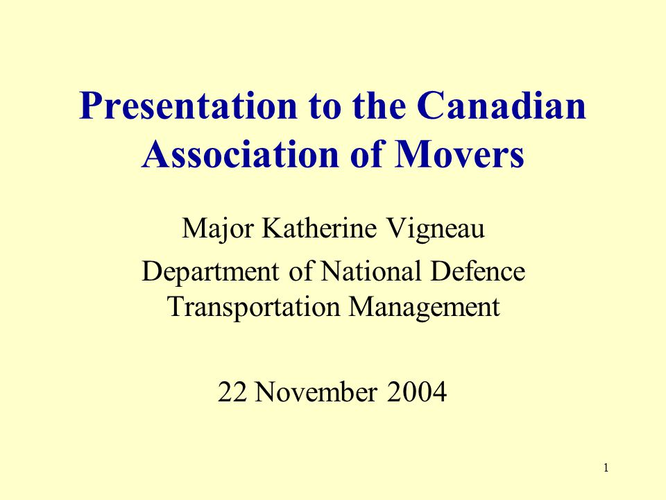 12 Interdepartmental Committee on Household Goods Removal Services (IDC) Established in 1968 DND: Department of National Defence PWGS/CRS: Public Works Government Services Canada / Central Removal System RCMP: Royal Canadian Mounted Police