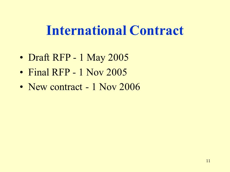 11 International Contract Draft RFP - 1 May 2005 Final RFP - 1 Nov 2005 New contract - 1 Nov 2006