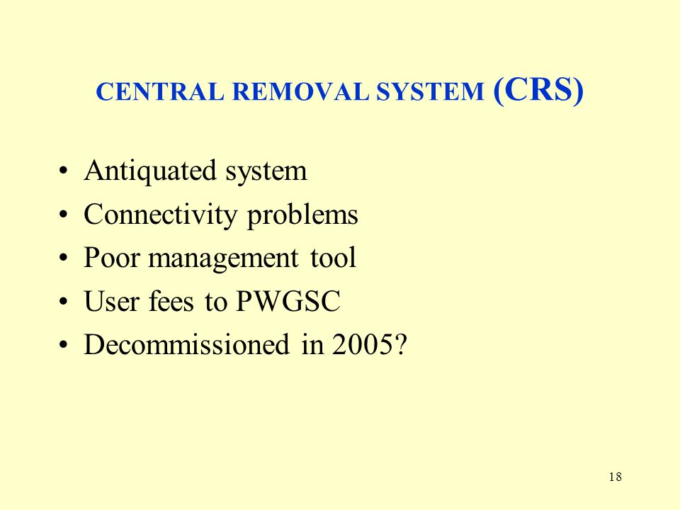 18 CENTRAL REMOVAL SYSTEM (CRS) Antiquated system Connectivity problems Poor management tool User fees to PWGSC Decommissioned in 2005